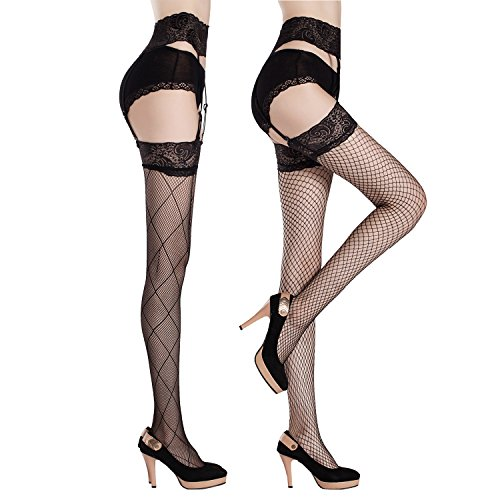 Joulli Womens Sexy Fishent Stockings Thigh High Stocking Garter Belt Lace Pantyhose, One Size, Black (2 Pack)