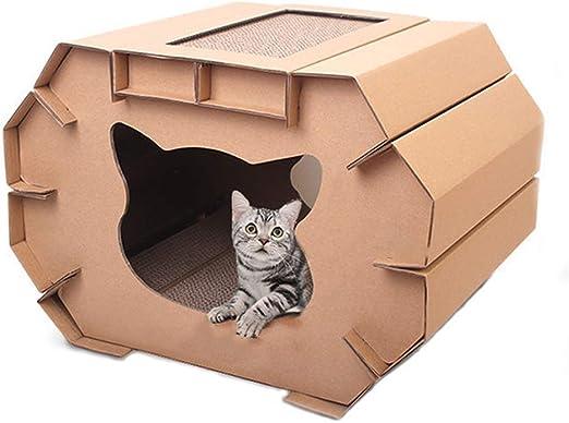 Jia He Juguete para mascotas Rasguño de gato doble corrugado arena for gatos casa de gato casa de gato villa gato afilado garra tablero de garras gato de juguete arañazos suministros de