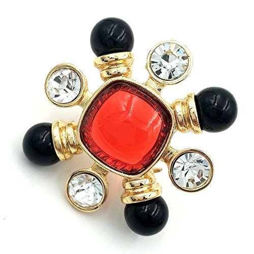 DREAMLANDSALES Antique Red Square Stone Domed Burst Star Brooch Pins Atomic Jewelry