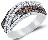 Size 9 - 925 Sterling Silver Channel Set Cross Over Round Cut Chocolate Brown and White Diamond Ladies Womens Wedding Band OR Anniversary Ring (3/4 cttw.)