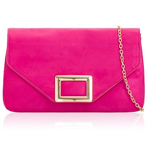 Faux Suede Prom Bag Party Evening London Women Fuchsia Xardi Designer Handbag UK Bridal Ladies Clutch tqEf7x