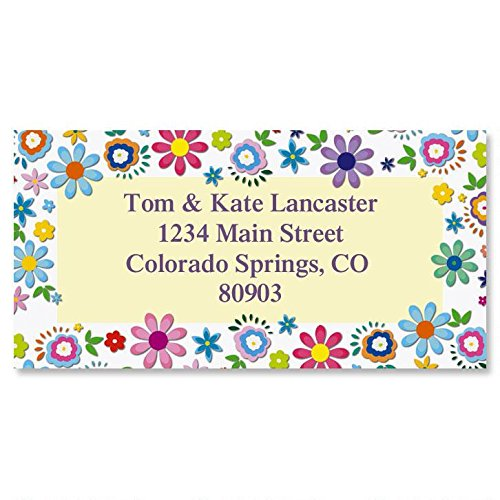 Cheerful Florals Personalized Return Address Labels - Set of 144, Large, Self-Adhesive, Flat-Sheet Labels with Floral Border, By Colorful Images