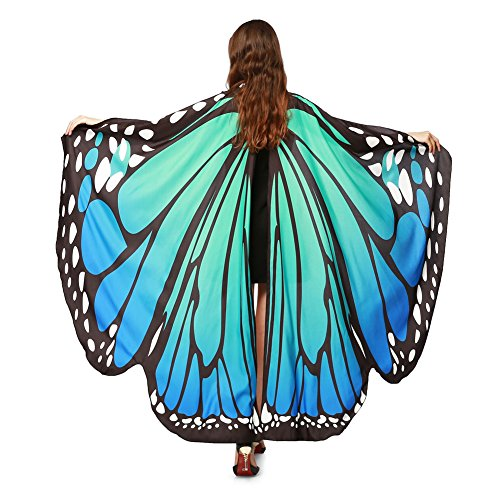 LERFEY Prop Soft Fabric Butterfly Wings Shawl Fairy Nymph Pixie Costume Accessory Blue Green]()