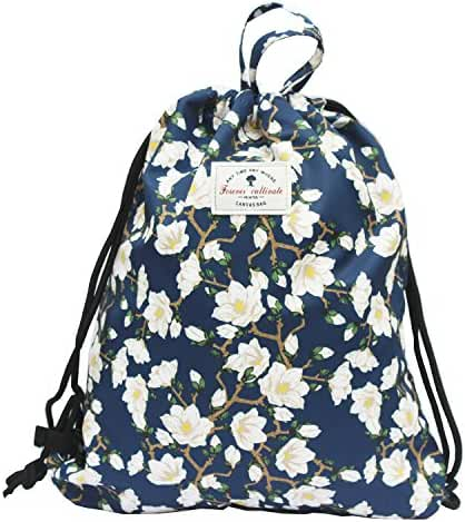 Drawstring Backpack Original Floral Leaf Lightweight Waterproof Tote Bags Sackpack for Shopping Yoga Gym Hiking Swimming Travel Beach
