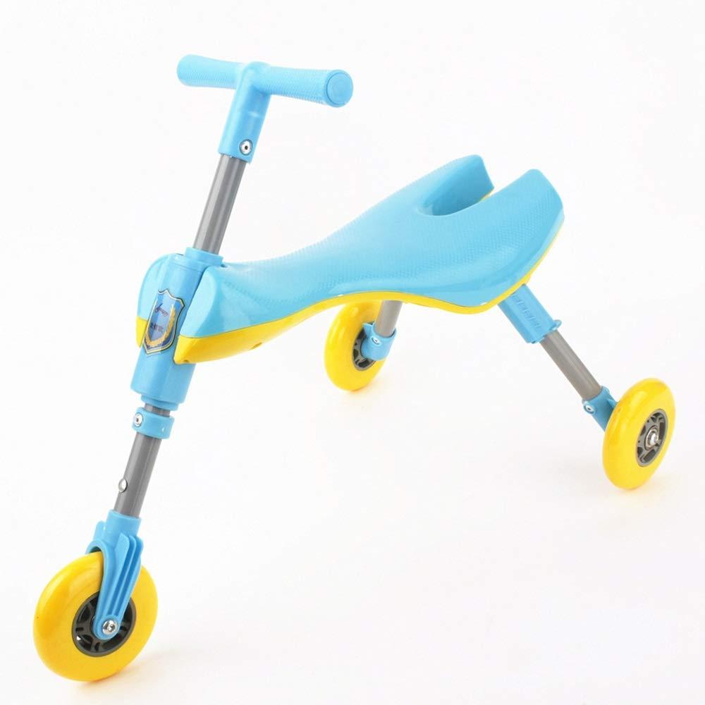 Hkkint 子供のための安全性と環境保護の材料スクーター、三輪設計、折りたたみ式、持ち運びが簡単 ( Color : 青 )