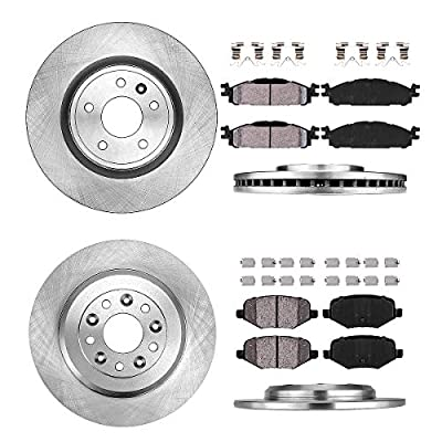 CRK11841 FRONT 325 mm + REAR 329.95 mm Premium OE 5 Lug [4] Rotors + [8] Quiet Low Dust Ceramic Brake Pads + Hardware