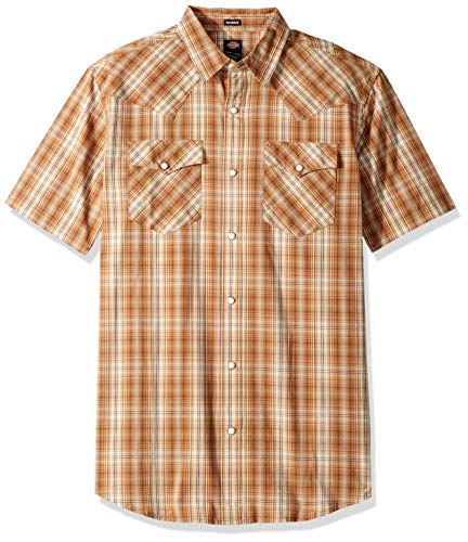 Dickies Men's Short Sleeve Flex Western Shirt, Rinsed Antique White Plaid, S