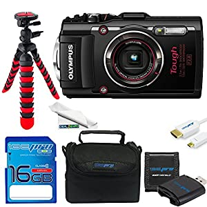 Olympus Stylus TOUGH TG-4 Water Proof Digital Camera (Black) + 16GB Be-Pro Memory Card +12 inches Flexible Tripod + Accessories Bundle