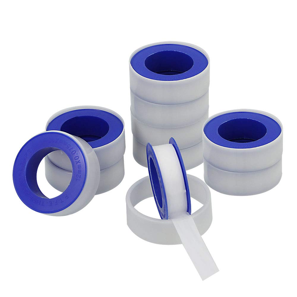 LYTIVAGEN 10 Pcs Thread Sealant Tape Waterproof PTFE Tape for Leak Water Pipe Thread 0.5 Inch Wide Teflon Tape
