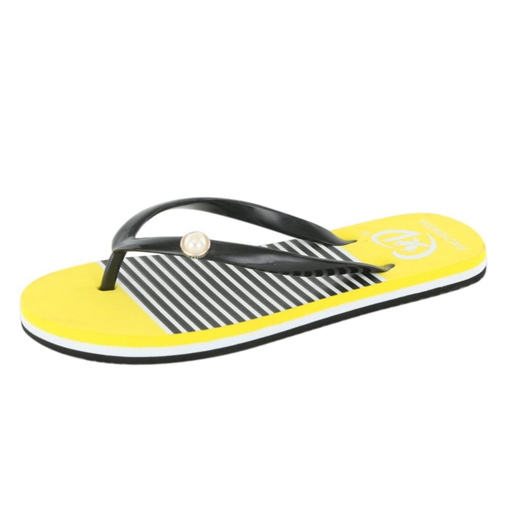 Flip Flops Women,Internet Sandalen Damen Flach Damen-Mauml;dchen-Herren Flip Flop Summer Beach Pool Schuhe Sandalen Zehentrenner Rutschfest und Weich  36 EU|Gelb