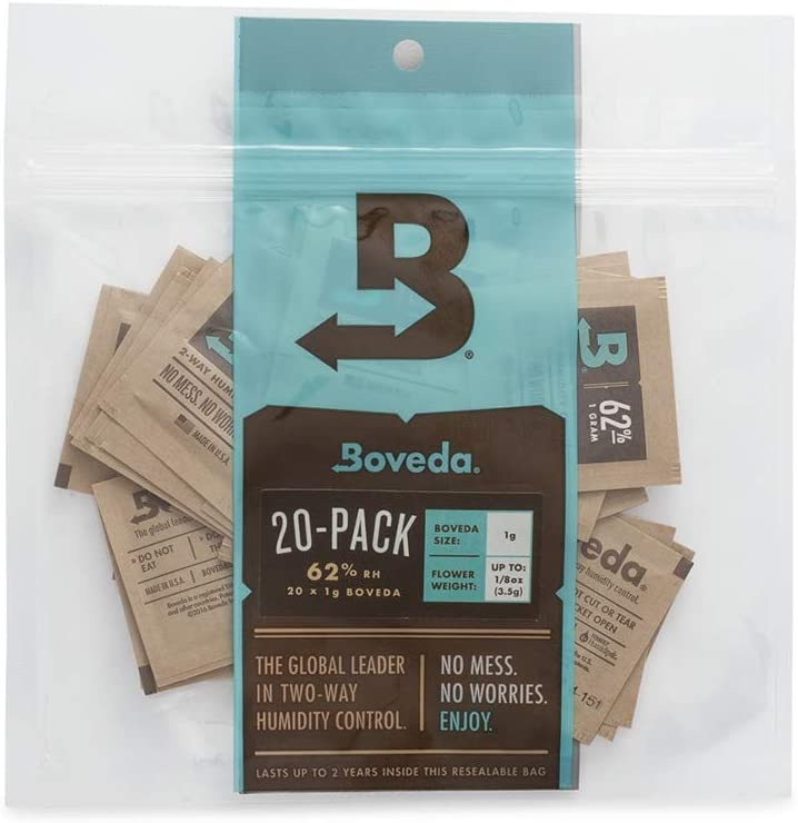 Boveda 62% RH 2-Way Humidity Control | Size 1 in 20-Count Reclosable Bag