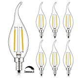 CRLight 2W LED Candelabra Bulb 2700K Warm White, 20W Equivalent 200LM E12 Base Dimmable LED Candle Bulbs, C35 Clear Glass Flame Shape Bent Tip, 360 Degrees Beam Angle, 6 Pack