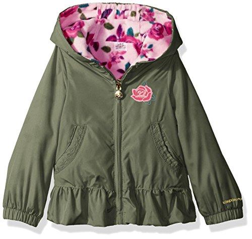 London Fog Baby Girls' Toddler Midweight Reversible Jacket, Fatigue Green, 4T