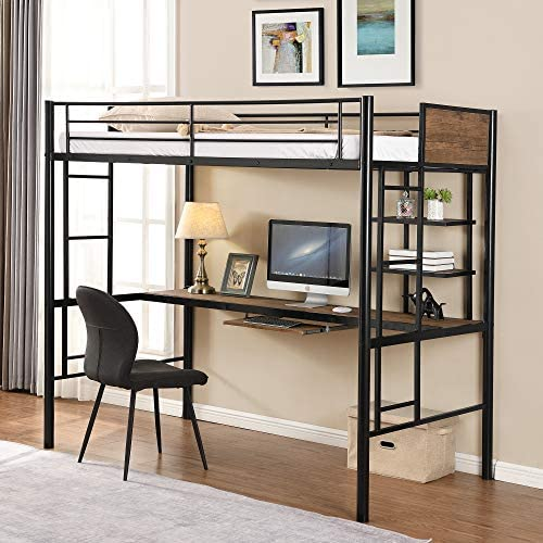 Metal Loft Bed Studio Loft Bunk Bed Over Desk and Bookcase