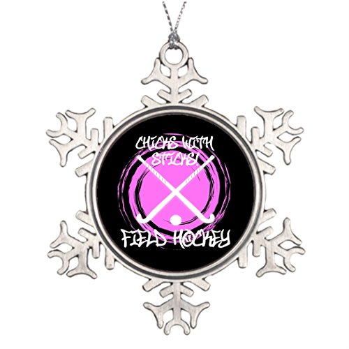 Personalized Family Christmas Snowflake Ornaments Chicks With Sticks - Field Hockey Outside Snowflake Ornaments Coach