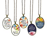 Bling Bling Glass Cabochon Necklace Vintage Bible Verses Pattern of Oval Pendant Inspired Necklace 23.6 inches Handmade for Gifts 5pcs (Bible Verses 4, Big Oval)