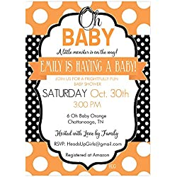 Set of 12 Customizable Personalized Baby Shower Invitations