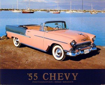 Vintage Car Wall Decor 1955 Chevy Bel Air Convertible Classic Art Print Poster (16x20) ()