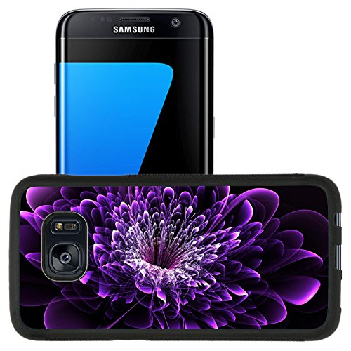Liili Samsung Galaxy S7 Edge Aluminum Backplate Bumper Snap Case Beautiful purple flower on black background Computer generated graphics 28017852 by Liili (Image #1)