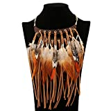 Fashion Tribal Style Feathers and Leather Tassels Charm Necklace Collar Bib for Women