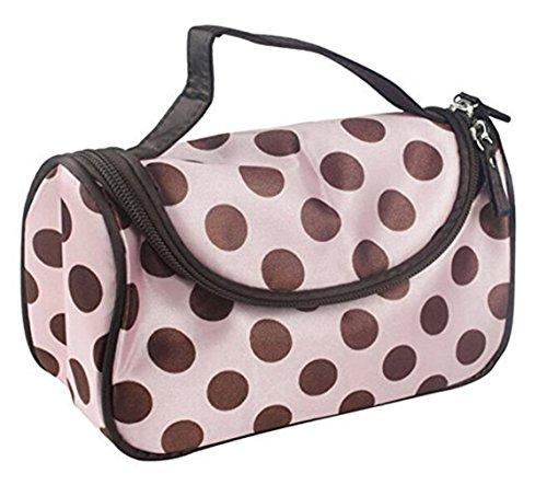 Fashion Women Pink and Coffee Dot Waterproof Dual Zipper Cosmetic Bag Makeup Multifunction Lady Girls Travel Makeup Bag Toiletry Organizer Handbag Pouch by SamGreatWorld