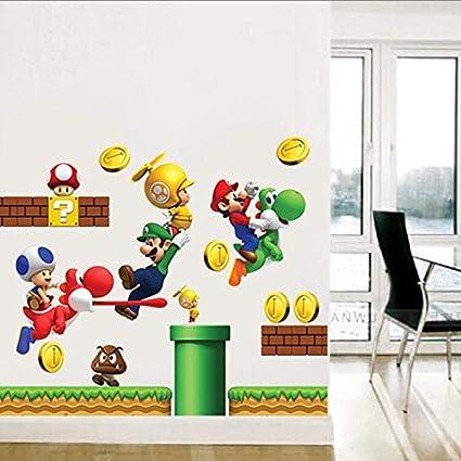 Adesivi Murali Super Mario Bros.Adesivi Murali Rimovibili In Vinile Adesivo Decorazioni Per La