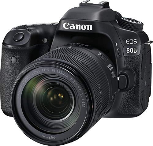 Canon Digital SLR Camera Body [EOS 80D] and EF-S 18-135mm f/3.5-5.6 Image Stabilization USM Lens with 24.2 Megapixel (APS-C) CMOS Sensor and Dual Pixel CMOS AF – Black
