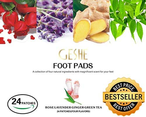 Geshe 2019 %100 Organic & Natural Aramotherapy Body Cleansing Foot Pads Premium 24  pieces Bamboo Vinegar with FREE  Pain Relief Patch