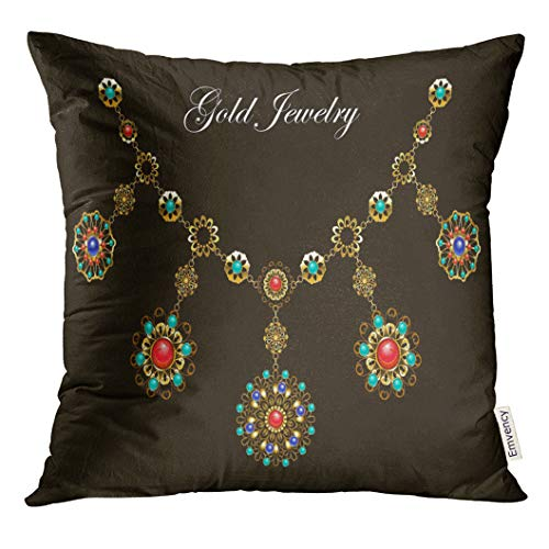 VANMI Throw Pillow Cover Ethnic Gold Necklace with Semiprecious Stones Carnelian Turquoise Lapis Lazuli Gems on Black Jewelry Decorative Pillow Case Home Decor Square 18x18 Inches Pillowcase