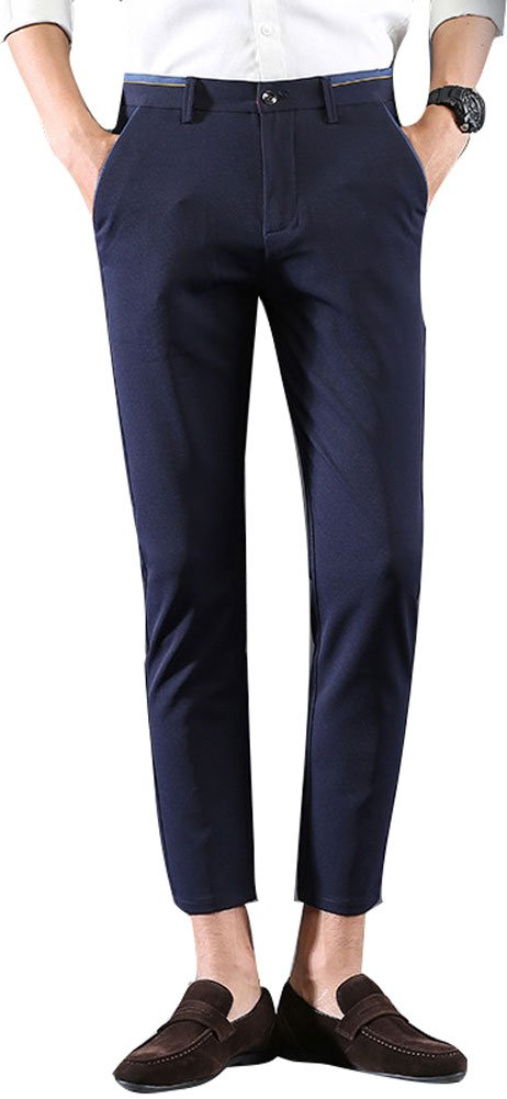 Plaid&Plain Men's Stretch Skinny Fit Casual Business Pants Ankle Dress Pants Blue 30