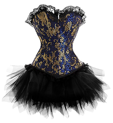[Frawirshau Gothic Halloween Lace up Corset Skirt Moulin Rouge Showgirl Clubwear Blue 3X] (Devil Girl Outfit)