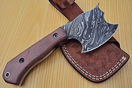 DIST-DAX-80- Custom Handmade Damascus Steel- 7.2 Inches AXE Knife.