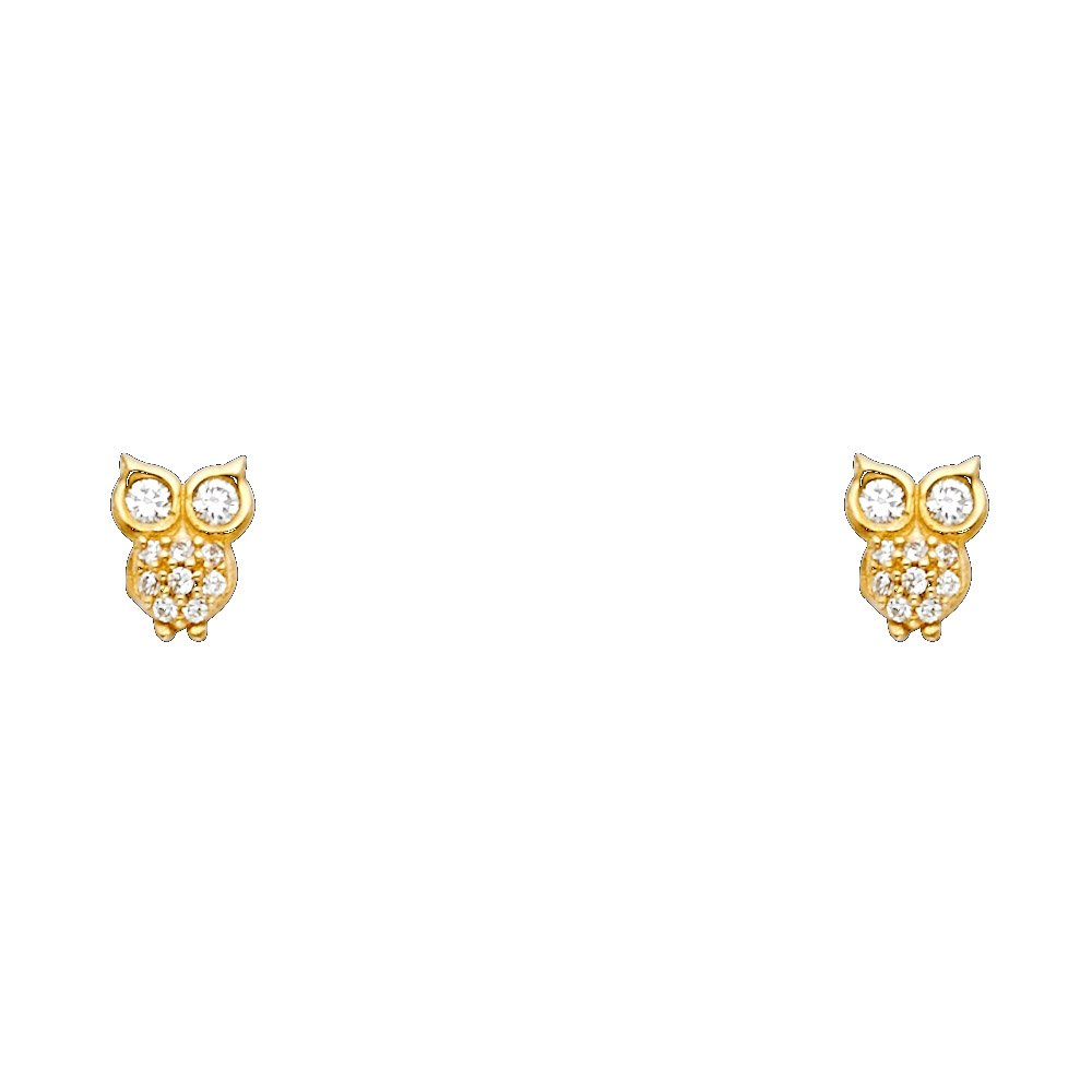 Wellingsale 14K Yellow Gold Polished Owl Stud Earrings With Screw Back