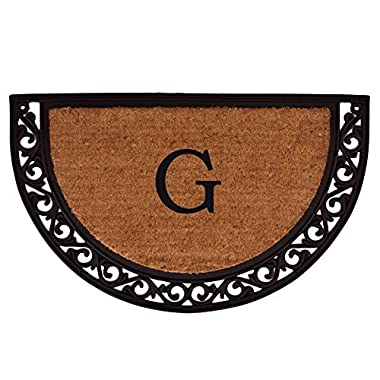 Home & More 100101830G Ornate Scroll Doormat, 18  x 30  x 1 , Monogrammed Letter G, Natural/Black