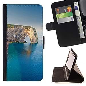 For Samsung Galaxy Core Prime / SM-G360 Case , Sea Cliff verano Naturaleza Geología- la tarjeta de Crédito Slots PU Funda de cuero Monedero caso cubierta de piel