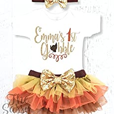 21451881b4382 Baby Girls 1st Thanksgiving Outfit, Personalized First Thanksgiving Outfit