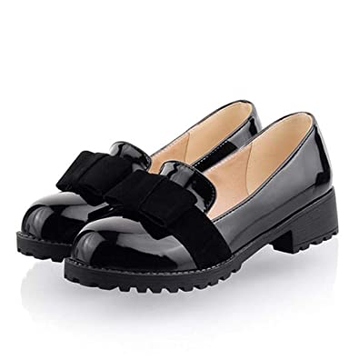 2a52519957 Susanny Women's Round Toe Patent Leather Slip on Shoes Sweet Bow Mid Heel  Black Oxfords Loafers