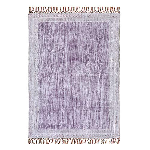 - ZhaoLiRuShop Rugs Carpet Floor mat Rug Carpet Floor Mat Cotton Printed Bronzing Plain Thin Tapestry Living Room Study Bedroom Carpet (Color : Purple, Size : 70150cm)