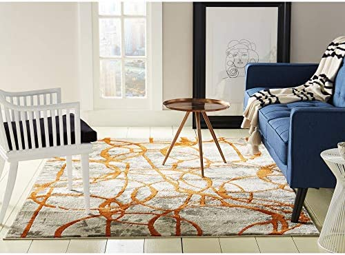 Safavieh Adirondack Collection ADR112F Silver and Blue Modern Abstract Area Rug 6 x 9