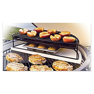 Big Green Egg Grill & Smoker Half Moon Raised Grid with Drip Pan for Medium, Large & X-Large Authentic Big Green Accessories! (Large - HMRGL)