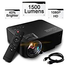 Projector/Projecteur,GooBang Doo T20 1500 Lumens Mini Portable Projector,Multimedia Home Theater Video Projector Support HDMI USB SD Card VGA AV Input for Home Cinema TV Laptop Game - Black
