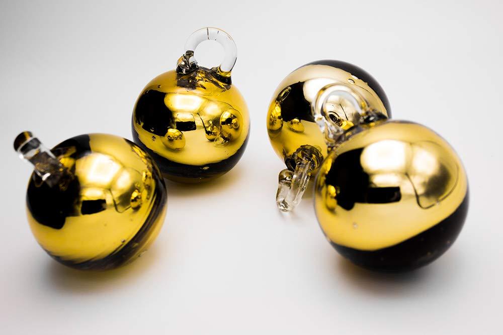 Cielito Lindo クリスマスボールオーナメント リサイクル吹きガラス 手作り 直径1.7インチ (4個セット) ゴールド   B07KTDKC4F