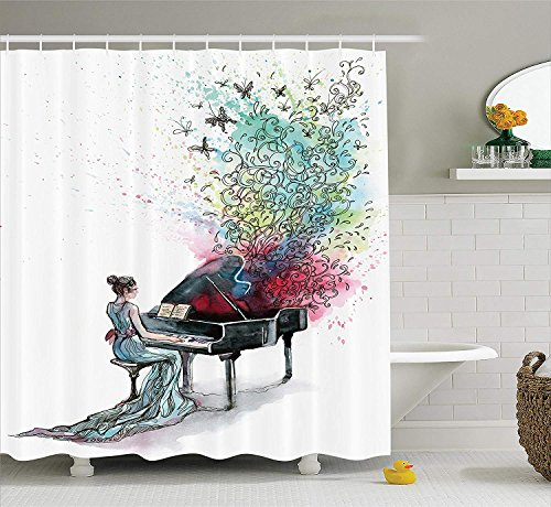 SZZWY Grand Piano Music Butterflies Ornamental Pianist Swirls Vintage Image Pattern Music Decor Collection Polyester Fabric Bathroom Shower Curtain with Hooks Teal Green Red