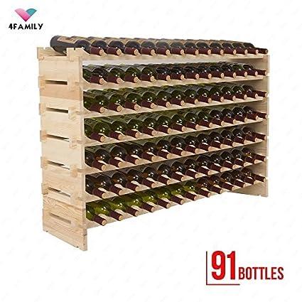 Beau Mecor Wine Rack Wood, Modular Stackable Storage 91 Bottle Display Capacity  Shelves, Wobble