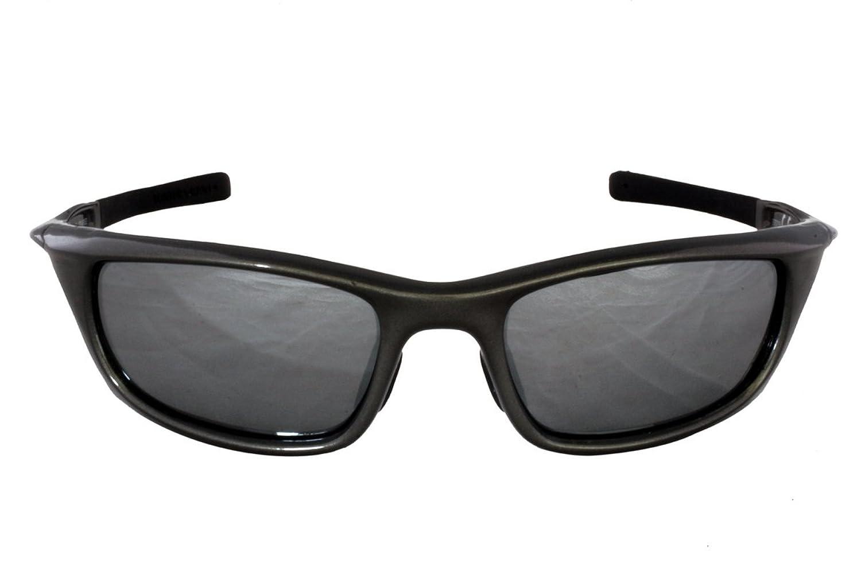 Foster Grant IRONMAN INUNDATION POL FG60 Unisex Wrap Style, Sport Sonnenbrille Gun Metall Schwarz Plastik Rahmen & Arme, schwarz, Silber Flash Spiegel, Polarisierte Linsen CAT 3