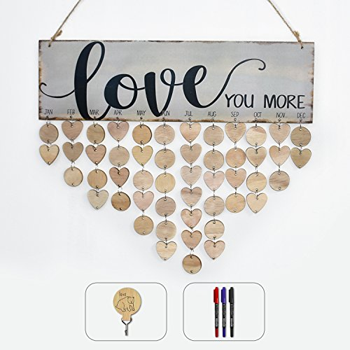 ElekFX Family Birthday Calendar DIY Hanging Love Calendar Wood Board Reminder Handmade Wall Hanging Plaque with Adhesive Hook and Pens For Home Office Decor