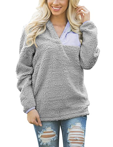 Sherpa Collar (TECREW Women's Sherpa Fleece Pullover Pebble Pile Tops Stand Collar Buttons Sweatshirt)