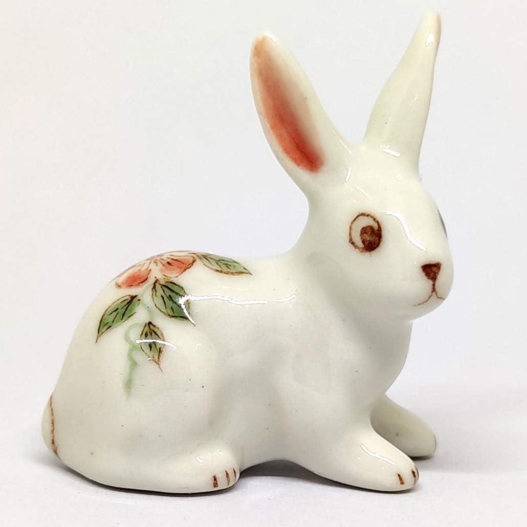 SSJSHOP Rabbit Miniature Figurines Hand Painted Ceramic Animals Collectible Gift Home Decor, Flower