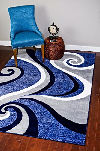 Rug Blue Royal (0327 Blue White Gray 5 x 7 Area Rug Abstract Carpet by Persian-Rugs)