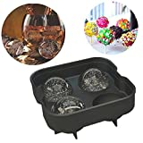 Otedes Ice Ball Maker Mold - Black Flexible Silicone Tray - Molds 4 X 4.5cm Round Ice Spheres (1 Pack)